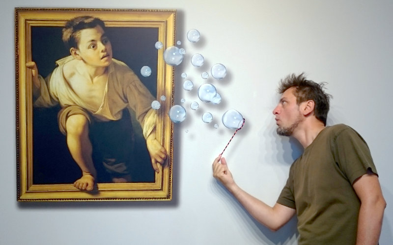 Martin interacting with a painting